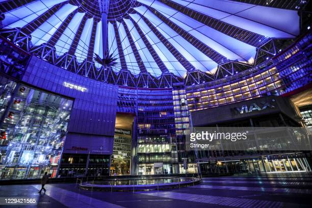 Cinemas, coffe shops and restaurants stand close at Sony Center on the first day of a four-week semi-lockdown during the second wave of the...