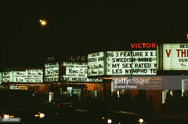 Cinemas in Times Square New York City USA including the Lyric and Victory 1978 Films on show include 'The Medusa Touch' and a number of pornographic...
