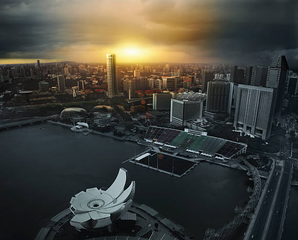 Cinematic Aerial View Of Singapore Wall Art