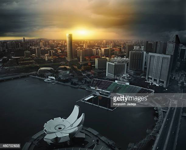 Cinematic Aerial View Of Singapore