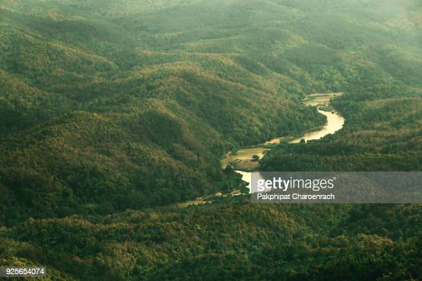 Cinematic green Landscape mountain valley with river view natural background.