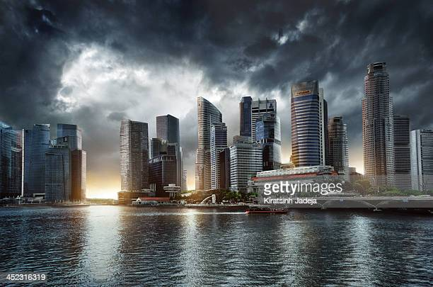 Cinematic Skyline Of Singapore