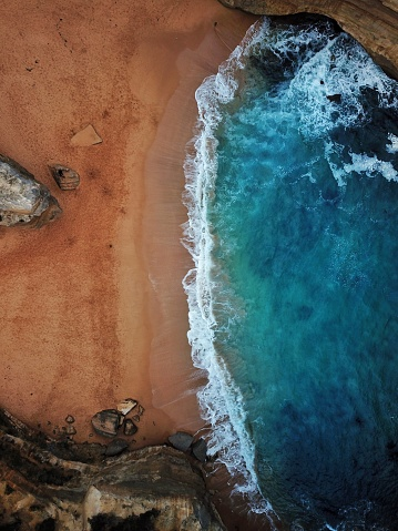 Cinematic vivid colours of an aerial beach shot in Australia - gettyimageskorea