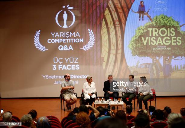 Cinematographer Amin Jafari and actress Behnaz Jafari speak after '3 Faces' movie screening within 55th Antalya International Film Festival in...