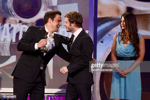 Cinematographer Ben Richardson accepts the award for Best Cinematography from actors Aubrey Plaza and Jake Johnson onstage during the 2013 Film...