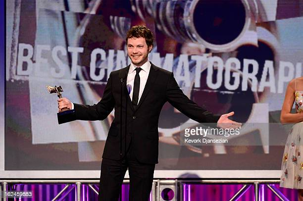 Cinematographer Ben Richardson accepts the award for Best Cinematography onstage during the 2013 Film Independent Spirit Awards at Santa Monica Beach...