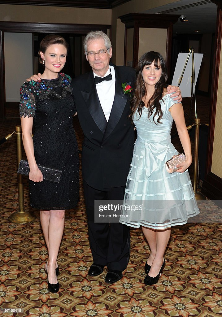 Cinematographer Caleb Deschanel (C) poses with his daughters Emily Deschanel (L) and Zooey Deschanel at the 24th Annual American Society of Cinematographers 24th Annual Outstanding Achievement Awards held at the Hyatt Regency Century Plaza Hotel on February 27, 2010 in Los Angeles, California.