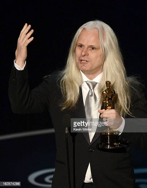 """Cinematographer Claudio Miranda accepts the Best Cinematography award for """"Life of Pi"""" onstage during the Oscars held at the Dolby Theatre on..."""