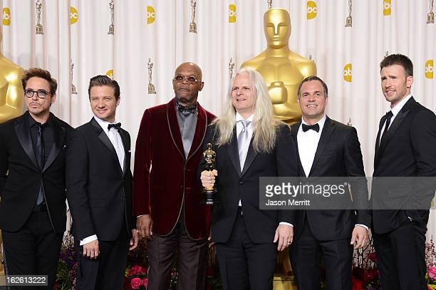 Cinematographer Claudio Miranda winner of the Best Cinematography award for 'Life of Pi' with presenters Robert Downey Jr Jeremy Renner Samuel L...