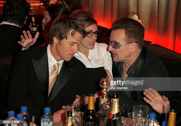 Cinematographer Daniel Moder actress Julia Roberts and musician Bono of U2 attend The Weinstein Company Netflix's 2014 Golden Globes After Party...