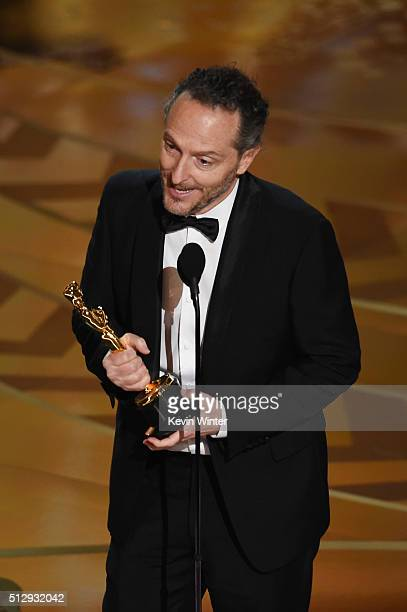 Cinematographer Emmanuel Lubezki accepts the Best Cinematography award for 'The Revenant' onstage during the 88th Annual Academy Awards at the Dolby...