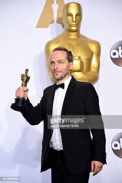 Cinematographer Emmanuel Lubezki winner of Best Cinematography for 'The Revenant' poses in the press room during the 88th Annual Academy Awards at...