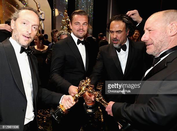 Cinematographer Emmanuel Lubezki winner of Best Cinematography for 'The Revenant' actor Leonardo DiCaprio winner of Best Actor for 'The Revenant'...