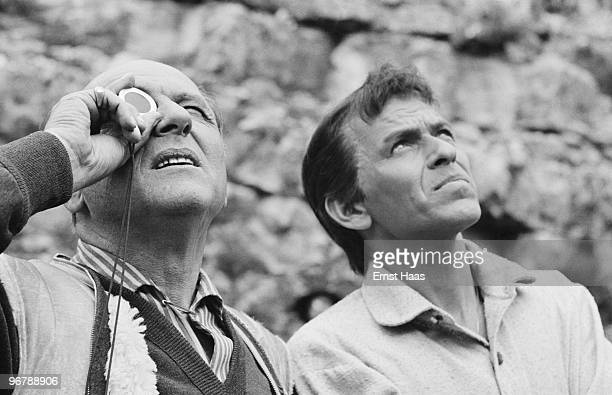 Cinematographer Franz Planer with Frank Sinatra during location filming in Spain for 'The Pride and the Passion' directed by Stanley Kramer 1956
