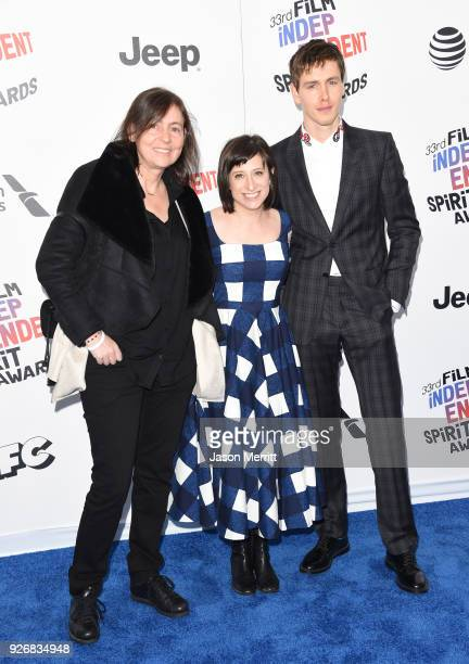 Cinematographer Helene Louvart director Eliza Hittman and actor Harris Dickinson attend the 2018 Film Independent Spirit Awards on March 3 2018 in...