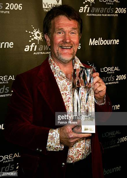 Cinematographer Ian Jones poses in the awards room with the award for Best Cinemotography at the L'Oreal Paris AFI 2006 Industry Awards at the...