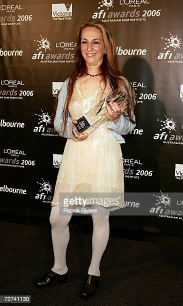 Cinematographer Jackie Farkas poses in the awards room with the award for Best Cinemotography in a Documentary at the L'Oreal Paris AFI 2006 Industry...