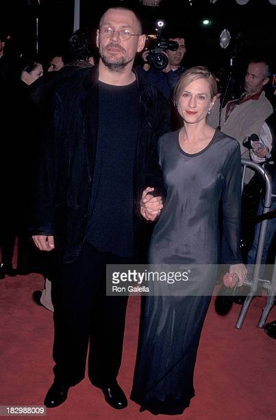 Cinematographer Janusz Kaminski and actress Holly Hunter attend the Jerry Maguire Westwood Premiere on December 11 1996 at the Mann Village Theatre...