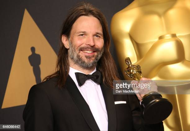 Cinematographer Linus Sandgren, winner of the Best Cinematography award for 'La La Land' poses in the press room at the 89th Annual Academy Awards at...