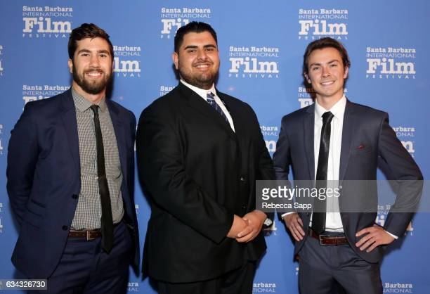 Cinematographer Michael McSpadden producer Oscar Gutierrez and sound mixer Chris Carcher of 'Working Class Heroes' attend the Montecito Award during...