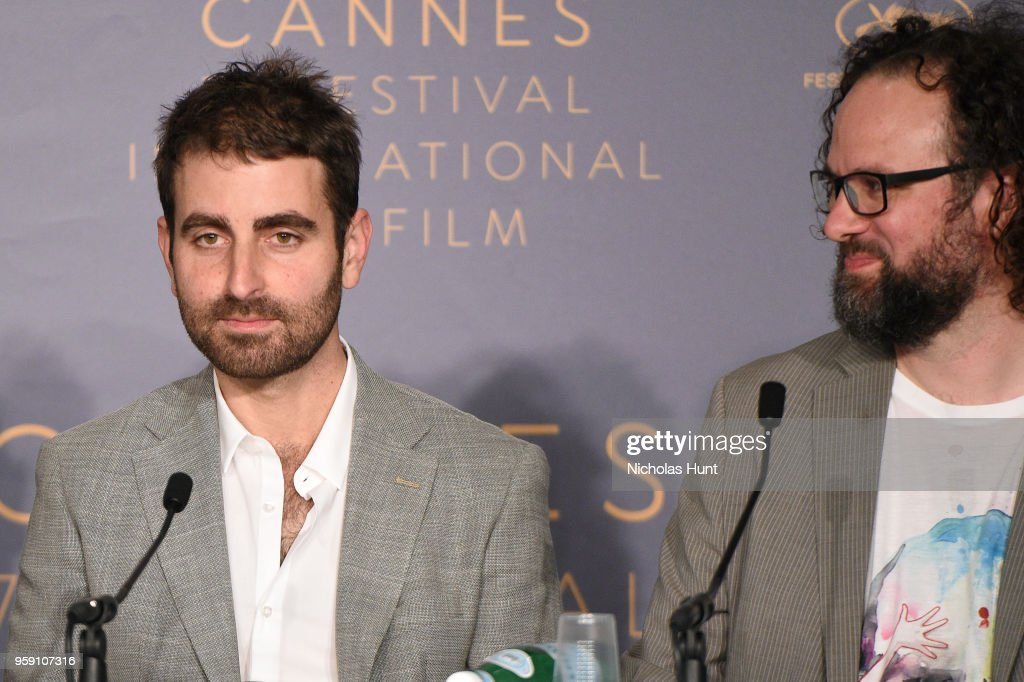 Cinematographer Mike Gioulakis (L) and film editor Julio Perez IV attends 'Under The Silver Lake' Press Conference during the 71st annual Cannes Film Festival at Palais des Festivals on May 16, 2018 in Cannes, France.