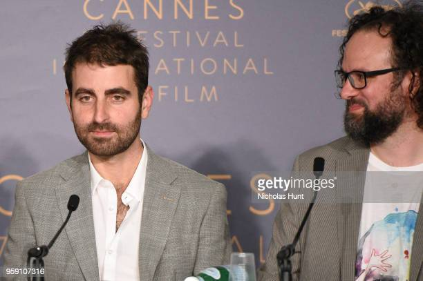 Cinematographer Mike Gioulakis and film editor Julio Perez IV attends 'Under The Silver Lake' Press Conference during the 71st annual Cannes Film...