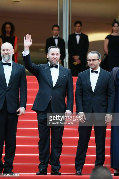 Cinematographer Mikhail Krichman actor Alexey Rozin and director Andrey Zvyagintsev attends the Loveless screening during the 70th annual Cannes Film...
