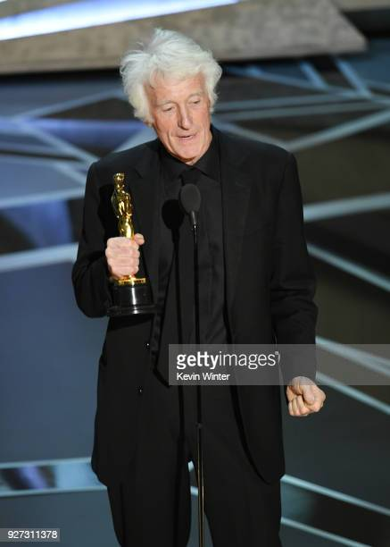 Cinematographer Roger A Deakins accepts Best Cinematography for 'Blade Runner 2049' onstage during the 90th Annual Academy Awards at the Dolby...