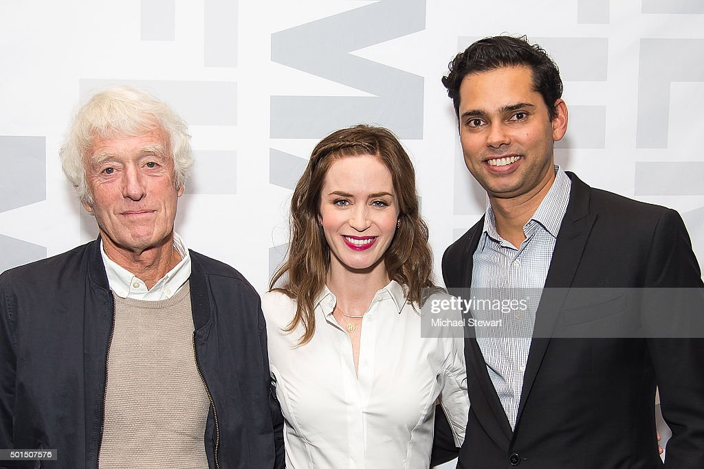 Cinematographer Roger Deakins, actress Emily Blunt and MoMA Chief Curator of Film Rajendra Roy attend the 'Sicario' New York screening at Museum of Modern Art on December 15, 2015 in New York City.