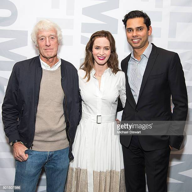 Cinematographer Roger Deakins actress Emily Blunt and MoMA Chief Curator of Film Rajendra Roy attend the Sicario New York screening at Museum of...
