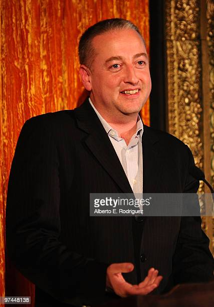 Cinematographer Seamus McGarvey accepts the Oscar Wilde award onstage during the 5th Annual 'Oscar Wilde Honoring The Irish In Film' held at the...