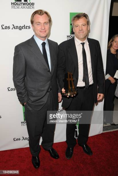 Cinematographer Wally Pfister winner of the Hollywood Cinematographer Award poses with Director Christopher Nolan during the 16th Annual Hollywood...