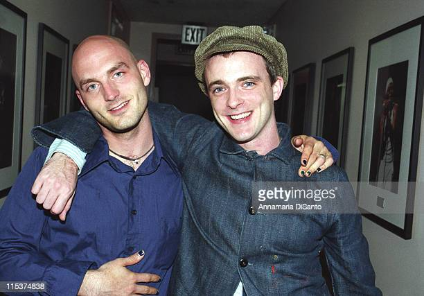 Cinjun Tate of Remy Zero and Fran Healy of Travis during Cinjun Tate and Ben Stiller backstage at Remy Zero Concert at Universal Amphlitheatre in...