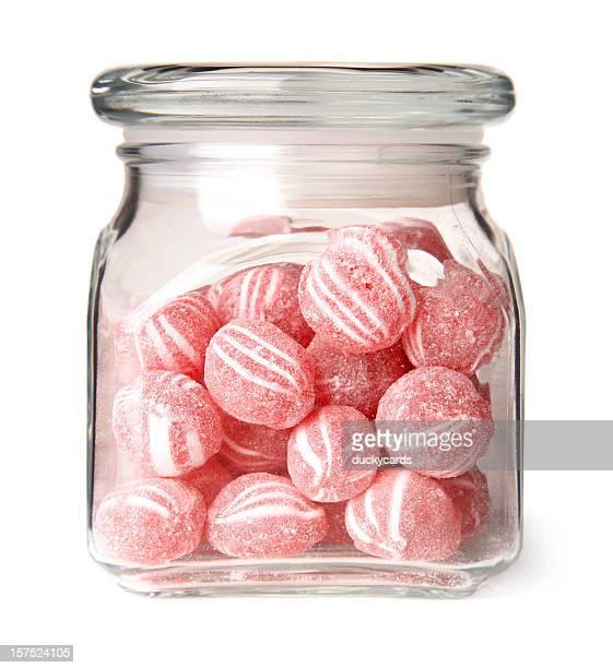 シナモンボールキャンディにガラスの瓶入り