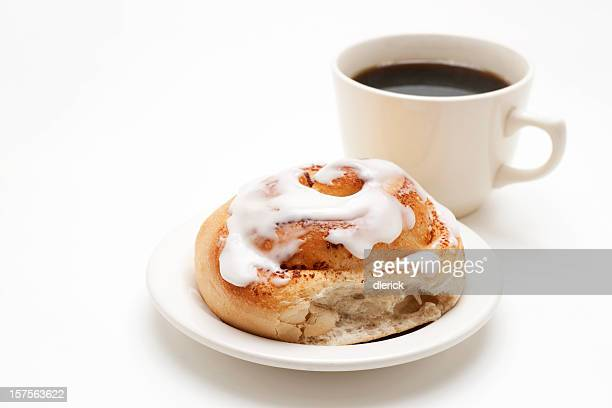 cinnamon bun and coffee