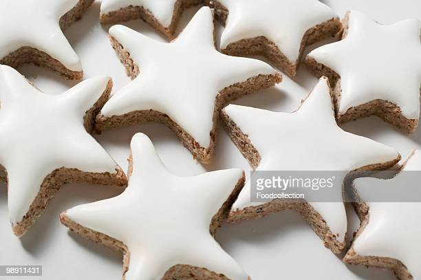 Cinnamon star cookies on white background, close-up