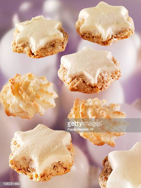 Cinnamon stars and coconut macaroons, close-up
