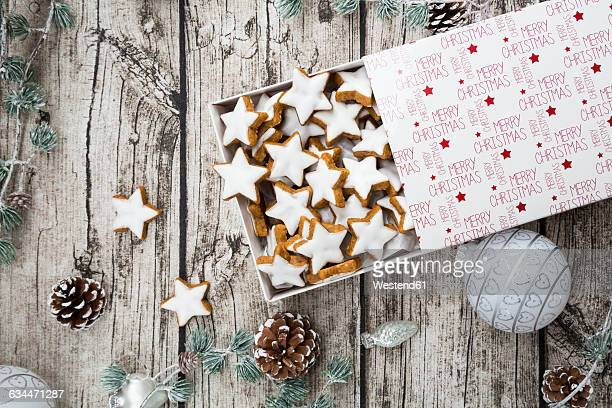 Cinnamon stars in box and christmas decoration
