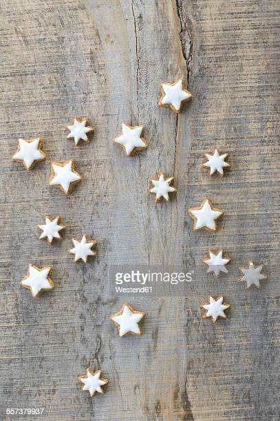 Cinnamon stars on grey wood