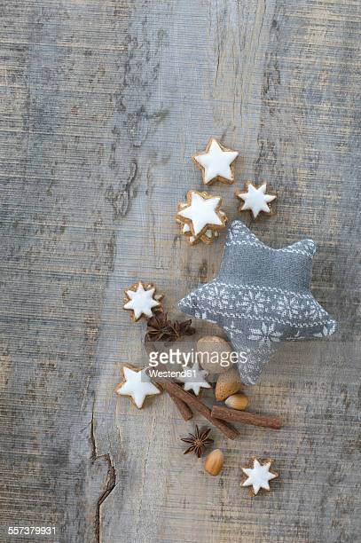 Cinnamon stars, spices, nuts and Christmas decoration