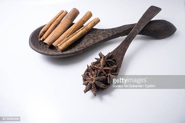 Cinnamon Sticks And Star Anise On Wooden Spoons Over White Background
