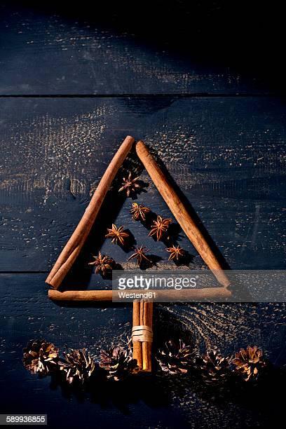 Cinnamon sticks and star anise shaped like a Christmas tree