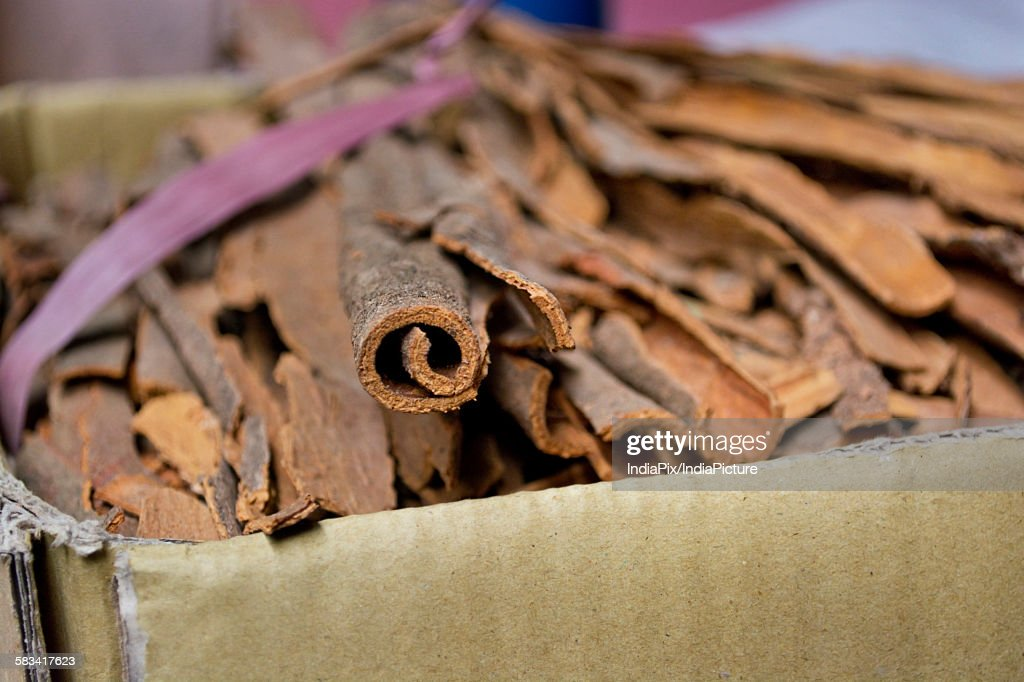 Cinnamon sticks for sale at the market : Stock Photo