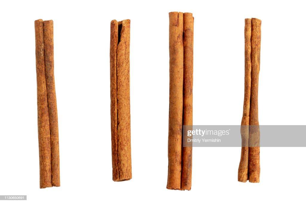 Cinnamon sticks isolated on white. : Stock Photo