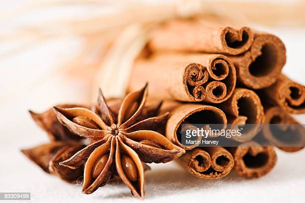 cinnamon sticks with star anise. - anise stock pictures, royalty-free photos & images