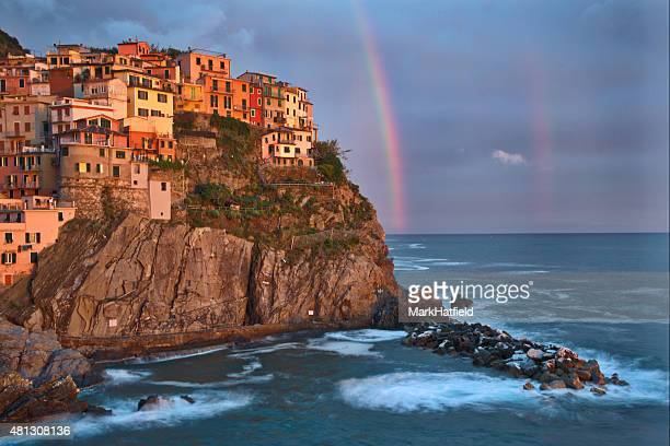 Cinque Terre Italy Town of Manarola at Sunset