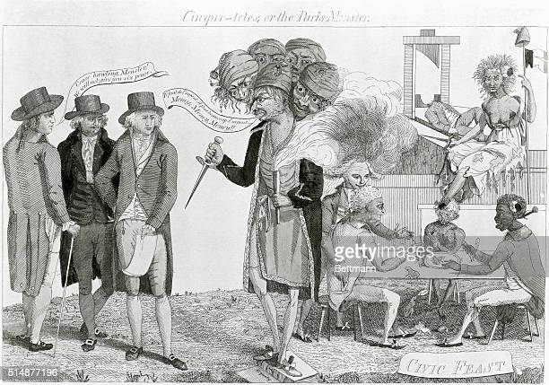 Cinquetetes or the Paris Monster Political cartoon on the XYZ Affair showing staunch Americans resisting the threats and demands for money from...