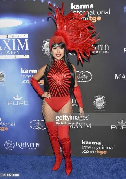 Cinthya Carmona arrives at the 2017 MAXIM Halloween Party at LA Center Studios on October 21 2017 in Los Angeles California