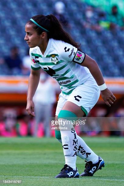 Cinthya Peraza of Santos looks on during a match between Santos and Monterrey as part of the Torneo Grita Mexico A21 Liga MX Femenil at Corona...
