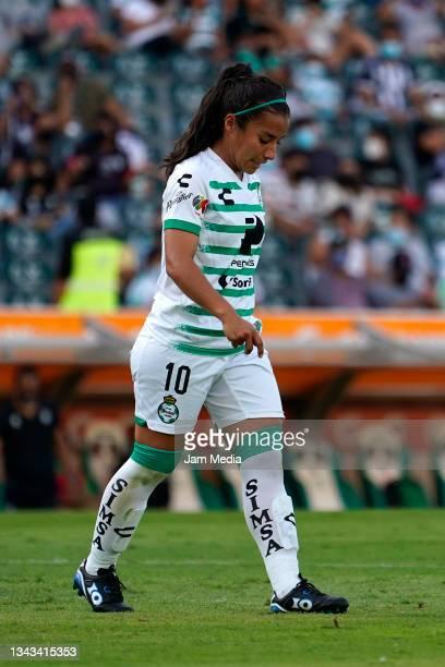 Cinthya Peraza of Santos reacts during a match between Santos and Monterrey as part of the Torneo Grita Mexico A21 Liga MX Femenil at Corona Stadium...